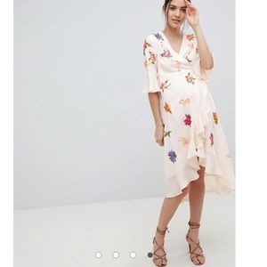 ASOS Maternity Floral Embroidered Midi Wrap Dress